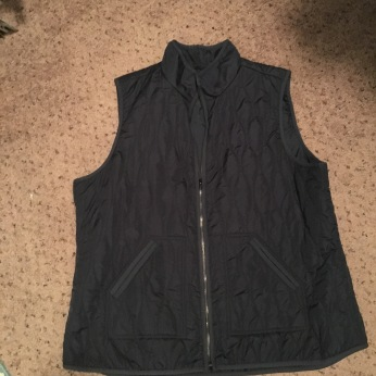 blue vest - didn't wear a lot of long sleeved shirts to wear a vest over - also looked weird zipped up